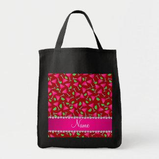Cales rosadas rojas conocidas de encargo del bolsa tela para la compra