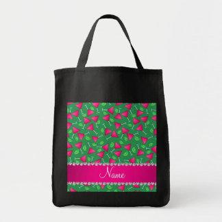 Cales rosadas verdes conocidas de encargo del bolsa tela para la compra