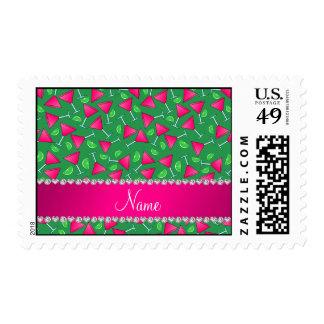 Cales rosadas verdes conocidas de encargo del sellos postales