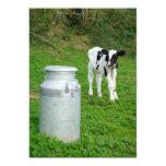 Calf and milk urn 5x7 paper invitation card