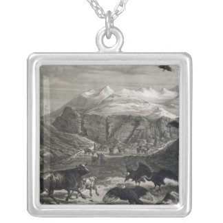 Calf being attacked by the Condors Square Pendant Necklace