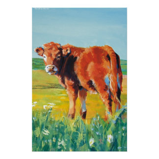 Calf Cow and Landscape painting Poster