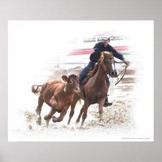 Calf cutting horse rider print print