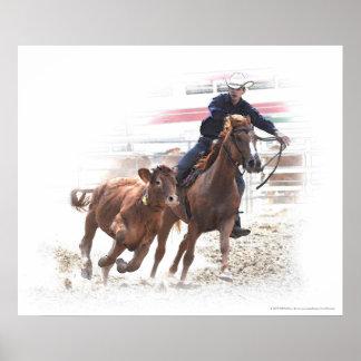 Calf cutting horse rider print