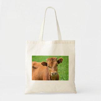 Calf In A Green Field Tote Bag