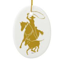 Calf Roper Gold Ceramic Ornament