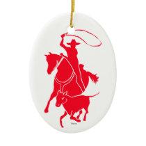 Calf Roper Red Ceramic Ornament
