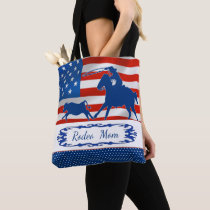 Calf Roping American Flag Rodeo Mom or Your Text Tote Bag