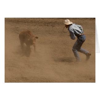 Calf roping cowboy card