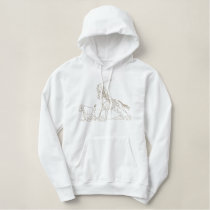 Calf Roping Outline Embroidered Hoodie