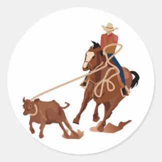 Calf Roping Round Stickers