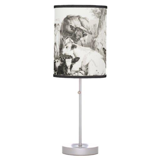 Calfs, vacas en un campo lámpara de escritorio