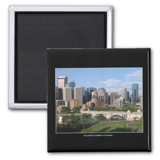 Calgary Alberta Canada Downtown Skyline View 2 Inch Square Magnet