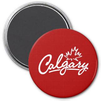 Calgary Leaf Script 3 Inch Round Magnet