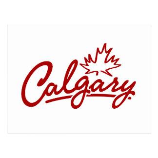 Calgary Leaf Script Postcard