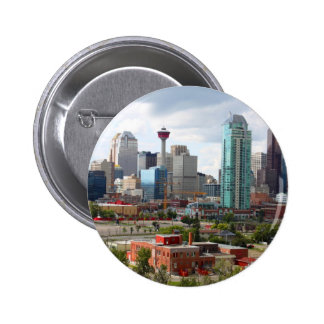 Calgary skyline with buildings and tower pinback button