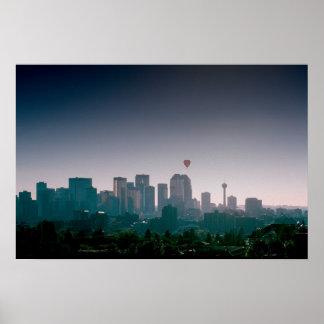 Calgary with Balloons borderless Poster