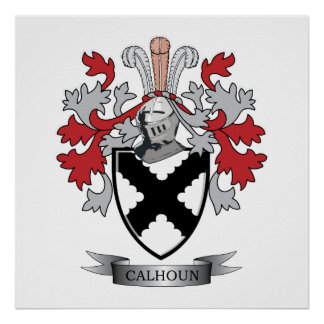 Calhoun Family Crest Coat of Arms Poster