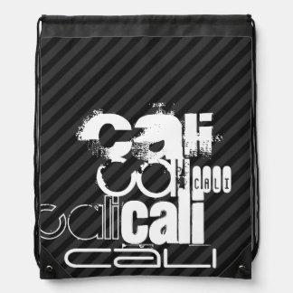 Cali; Black & Dark Gray Stripes Cinch Bags