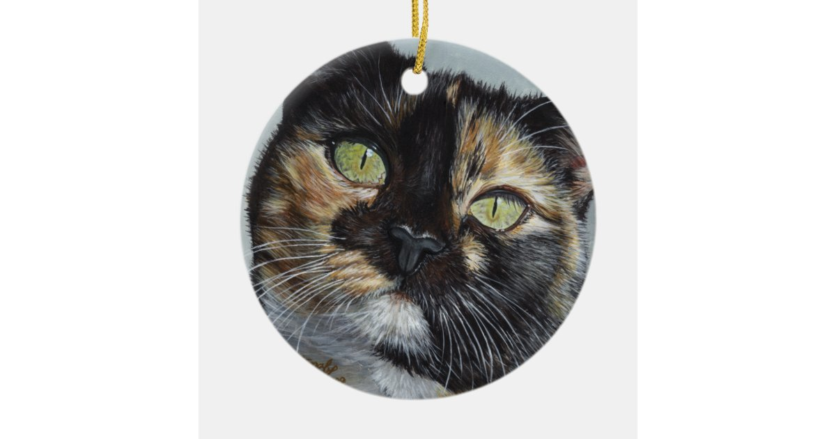 cali calico tortoiseshell cat painting art ceramic ornament