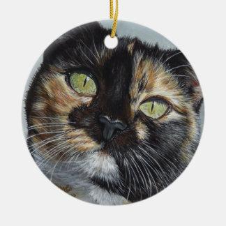 Cali Calico Tortoiseshell cat painting art Christmas Ornament