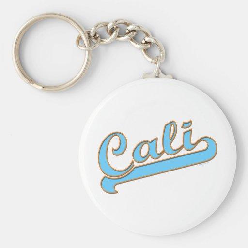 Cali California Surfer Logo in Blue Keychains