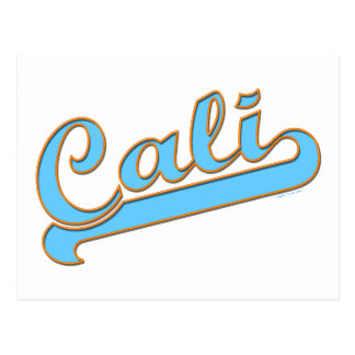 Cali California Surfer Logo in Blue Postcard