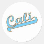 Cali California Surfer Logo in Blue Classic Round Sticker