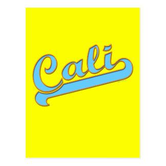 Cali California Surfer Logo in Teal Blue Postcard