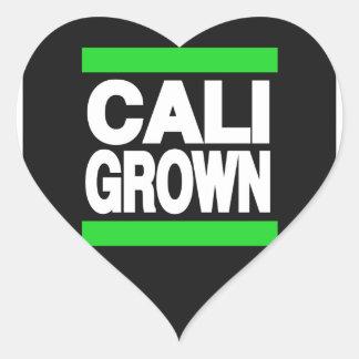 Cali crecido verde pegatina en forma de corazón