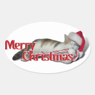 Cali, el gatito del bastón de caramelo calcomania oval personalizadas