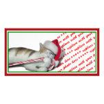 Cali, el gatito del bastón de caramelo tarjetas fotograficas personalizadas