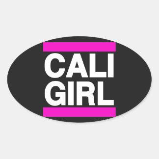 Cali Girl Pink Oval Sticker