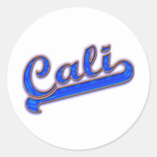 Cali Logo Blue Wave Classic Round Sticker