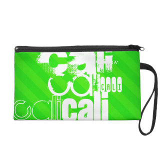 Cali; Neon Green Stripes Wristlet Purse