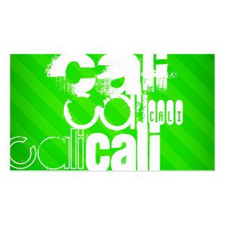 Cali; Neon Green Stripes Business Card