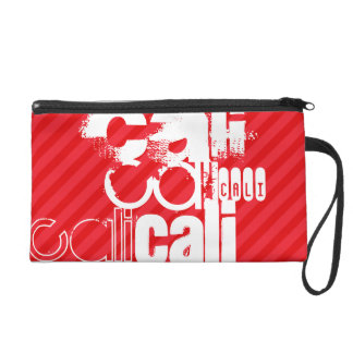 Cali; Scarlet Red Stripes Wristlet Clutches