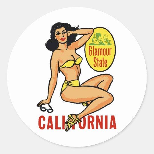 Cali Sitting Pinup Classic Round Sticker