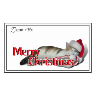Cali the Calico Christmas Cat With Text Business Card