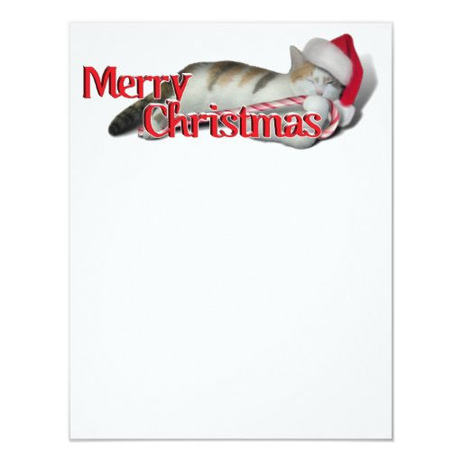 Cali, the Candy Cane Kitty 4.25x5.5 Paper Invitation Card