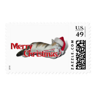 Cali, the Candy Cane Kitty Postage Stamp