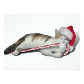 "Cali, the Christmas Candy Cane Kitty 5.5"" X 7.5"" Invitation Card"
