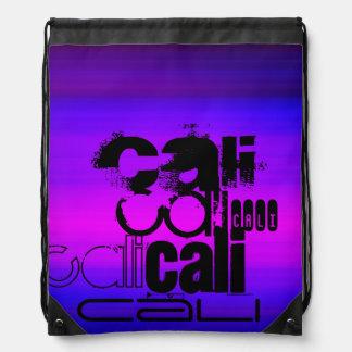 Cali; Vibrant Violet Blue and Magenta Drawstring Bags