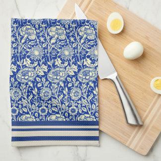 Calicó azul de Sorta toalla de plato del algodón