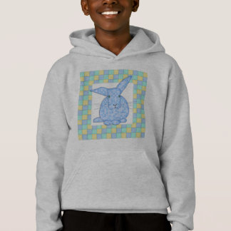 Calico Blue Bunny on Pastel Checkerboard Hoodie