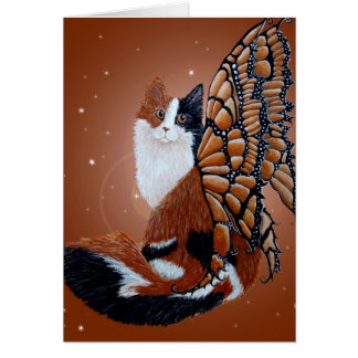 Calico Butterfly Fairy Cat Greeting Card