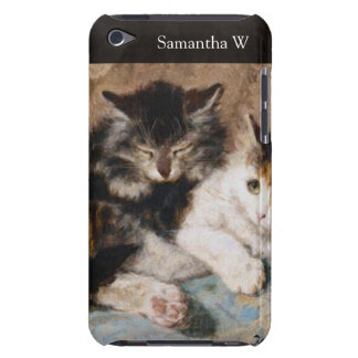 Calico Cat and Gray Kitten Fine Art Painting iPod Touch Cover