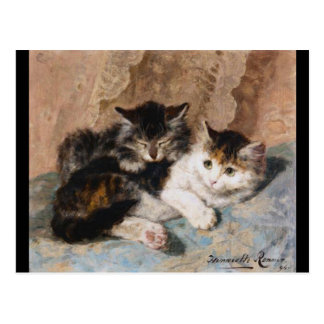 Calico Cat and Gray Kitten Fine Art Painting Postcard