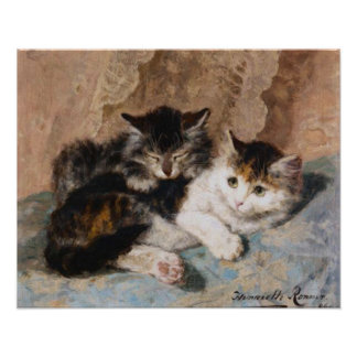 Calico Cat and Gray Kitten Fine Art Painting Poster