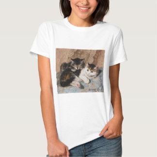 Calico Cat and Gray Kitten Fine Art Painting Shirt